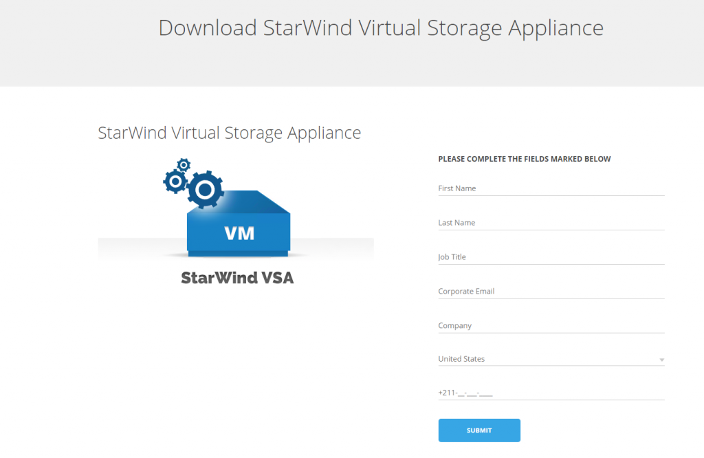 StarWind Virtual Appliance download page view