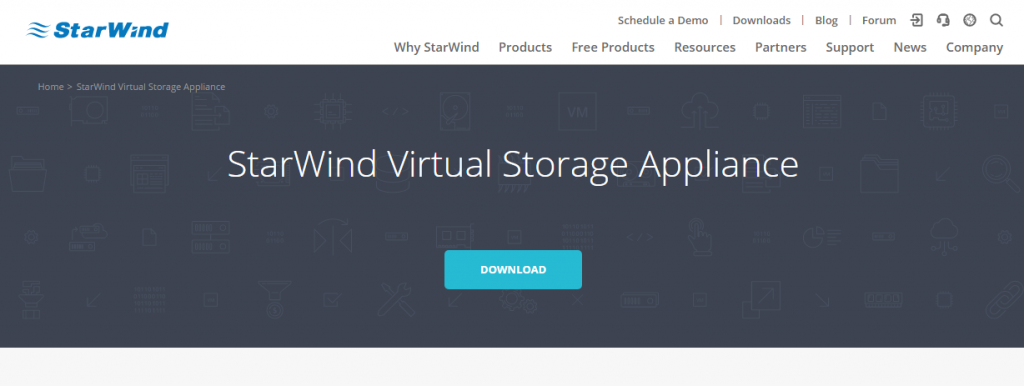 StarWind Virtual Appliance product page view