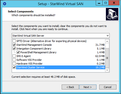 StarWind Virtual SAN setup window