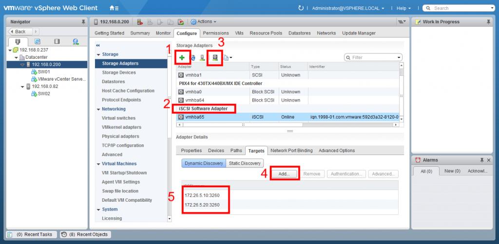VMware vSphere Web Client storage adapters window