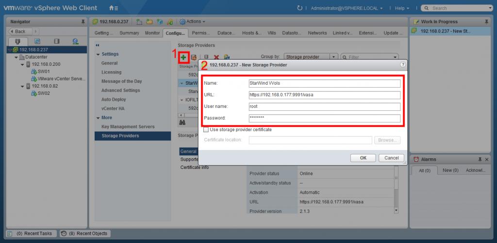 VMware vSphere Web client storage providers window
