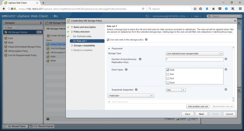 VMware vSphere Web Client create new storage policy