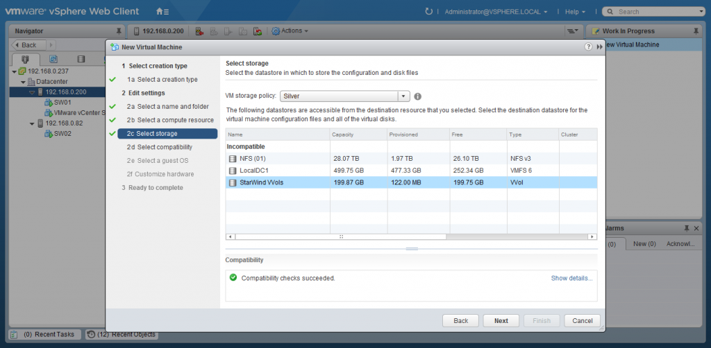 VMware vSphere Web Client new virtual machine window