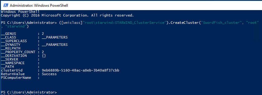 Creating the StarWind Cluster via PowerShell