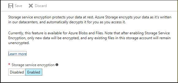 Azure Storage service encryption window