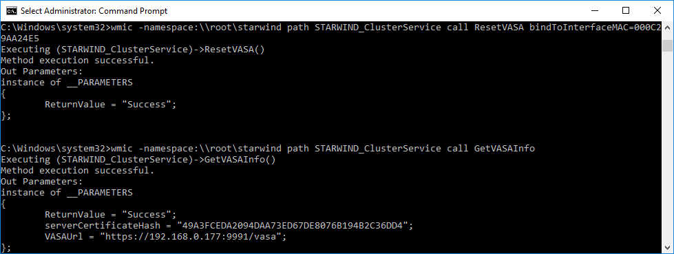 StarWind cluster service command