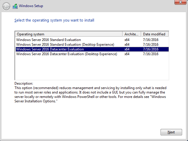 Windows Server installation