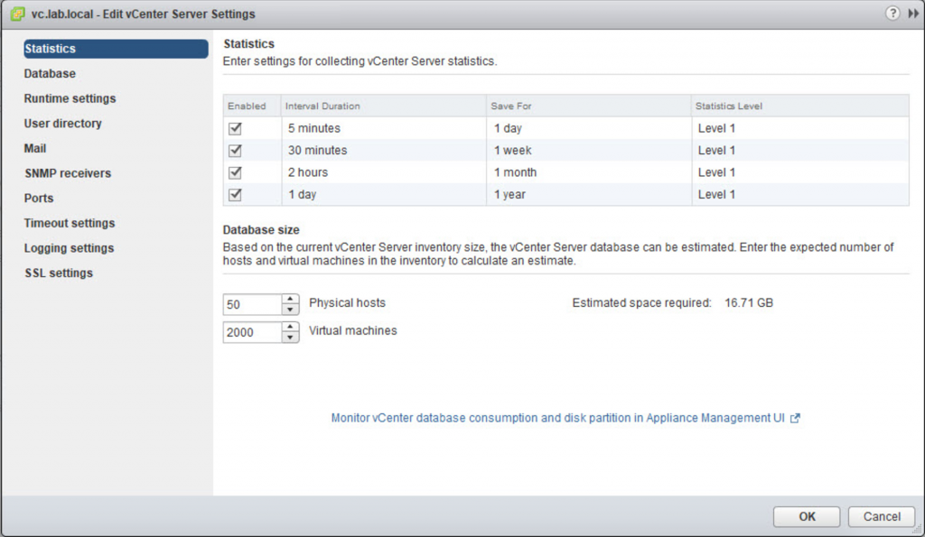Setting statistics collection levels for the VMware vCenter