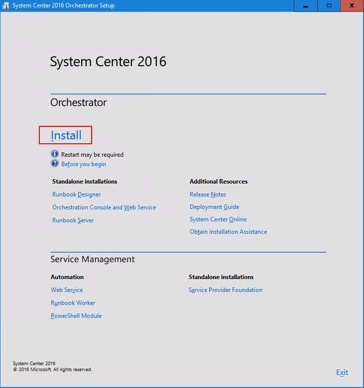 install System Center 2016 Orchestrator