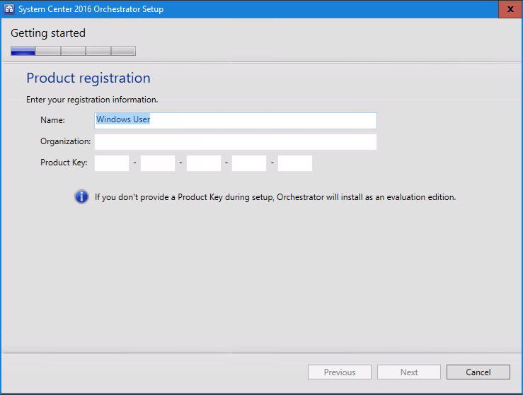 System Center 2016 Orchestrator Setup SCO license