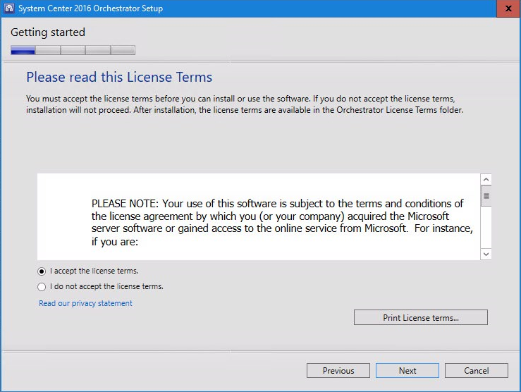 System Center 2016 Orchestrator Setup license terms