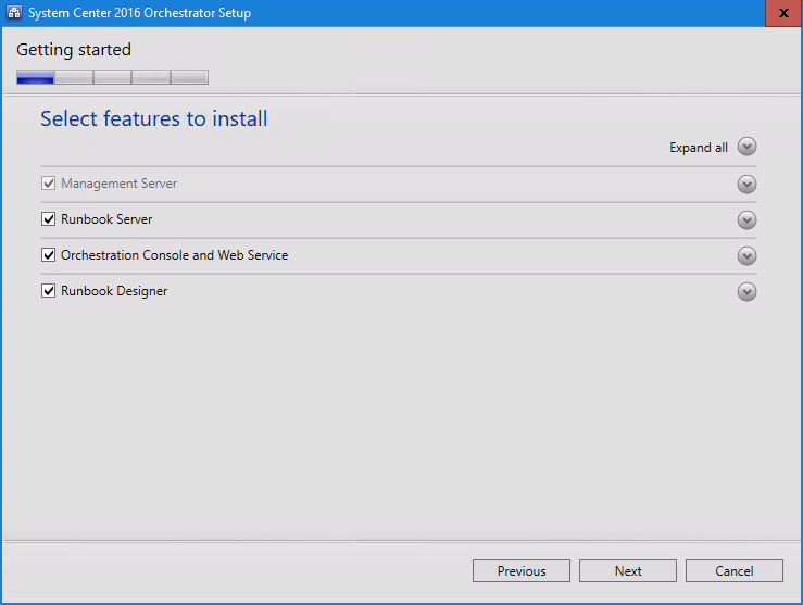 System Center 2016 Orchestrator Setup install features