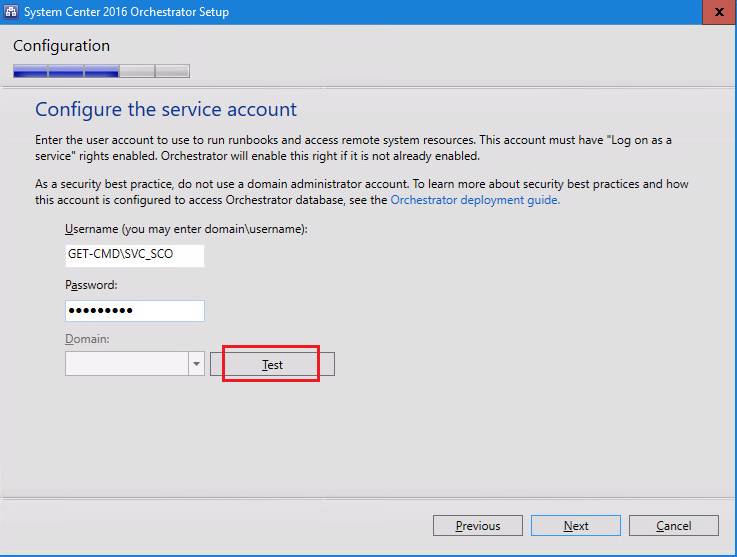 System Center 2016 Orchestrator Setup Configure the service account