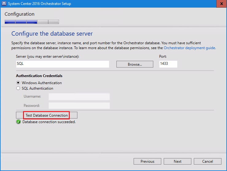 System Center 2016 Orchestrator Setup configure the database server