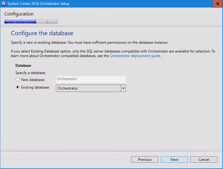 System Center 2016 Orchestrator Setup configure the database