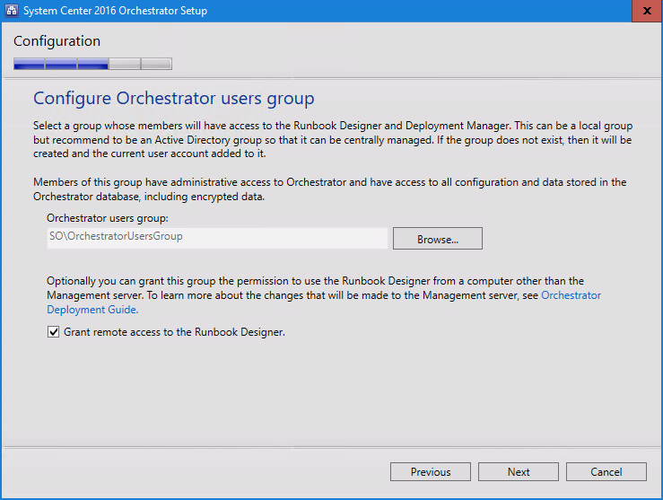 System Center 2016 Orchestrator Setup Configure users group