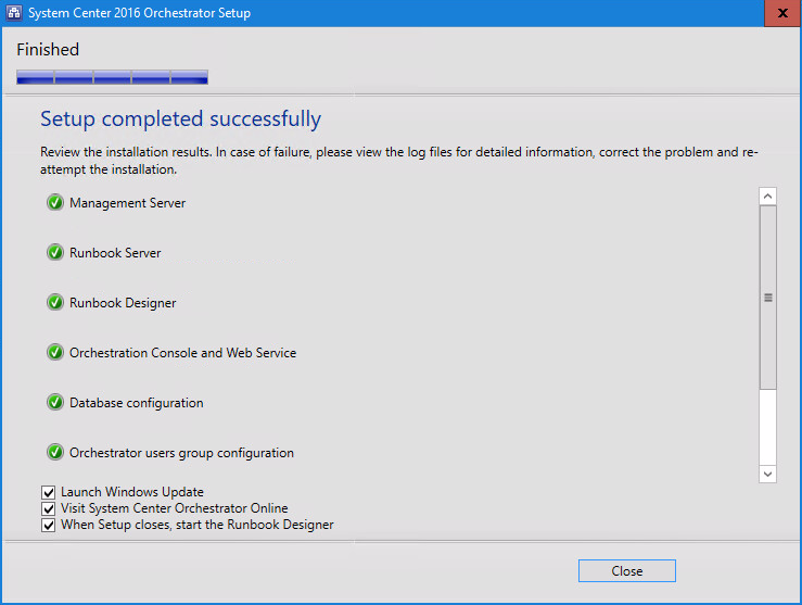 System Center 2016 Orchestrator Setup window