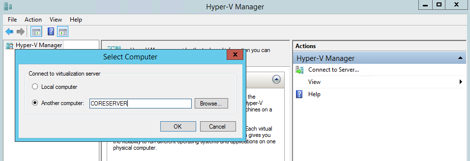 Adding the server to Hyper-V Manager