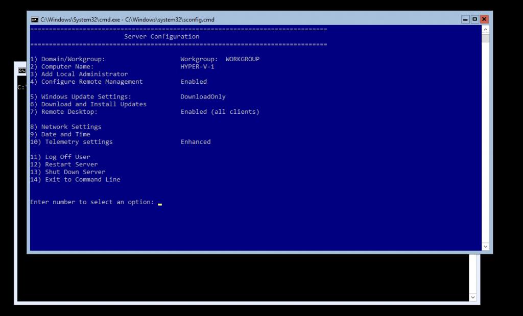 Server configuration process