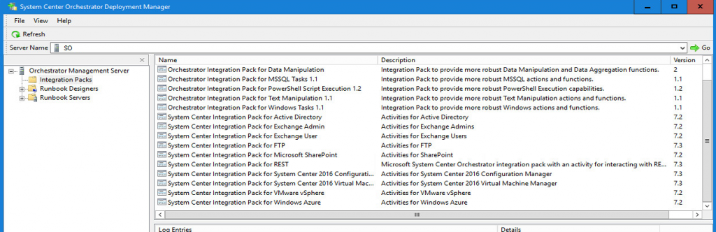 System Center 2016 Orchestrator deployment manager