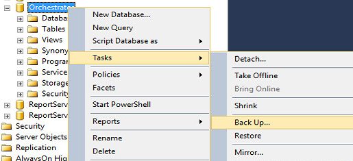 SQL Management Studio Backup of Orchestrator Database.