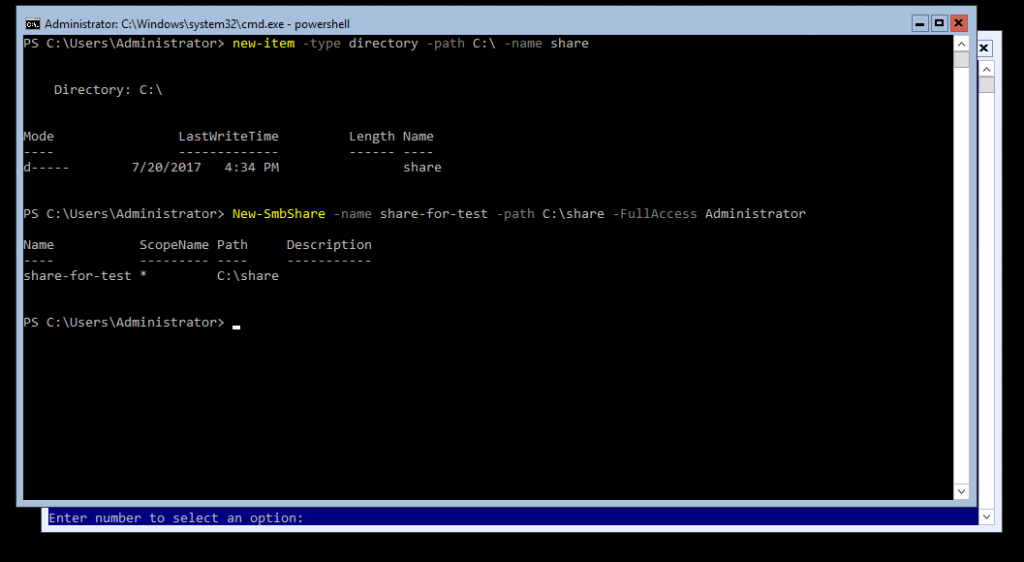 PowerShell command New-SmbShare commandlet