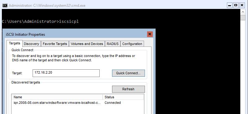 Connecting storage via iSCSI Initiator
