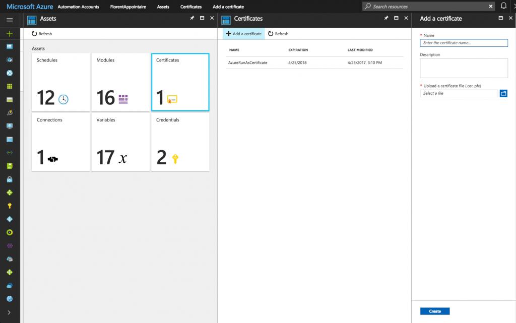 Microsoft Azure Assets Certificates