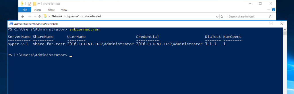 SmbConnection command in PowerShell