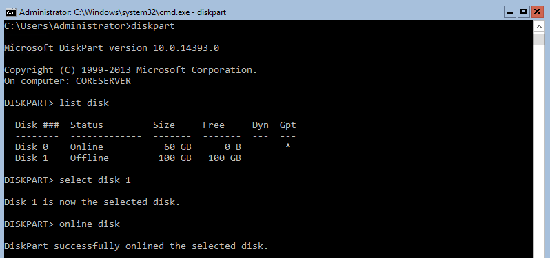 "Preparing the storage with ""diskpart"" command"