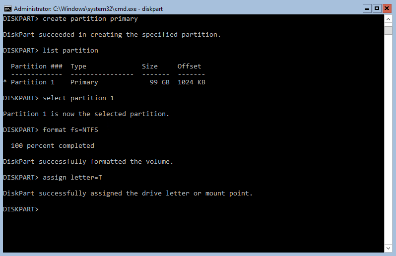 Creating and formatting the partition