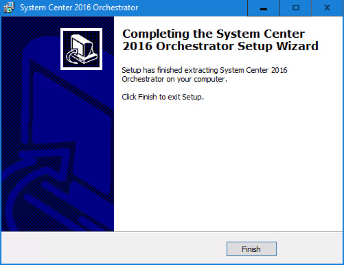 System Center 2016 Orchestrator Setup Wizard
