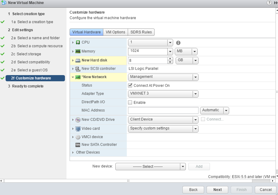ESXi VM creation settings