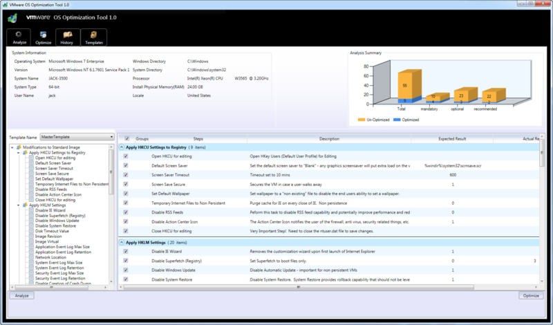 VMware OS Optimization Tool view