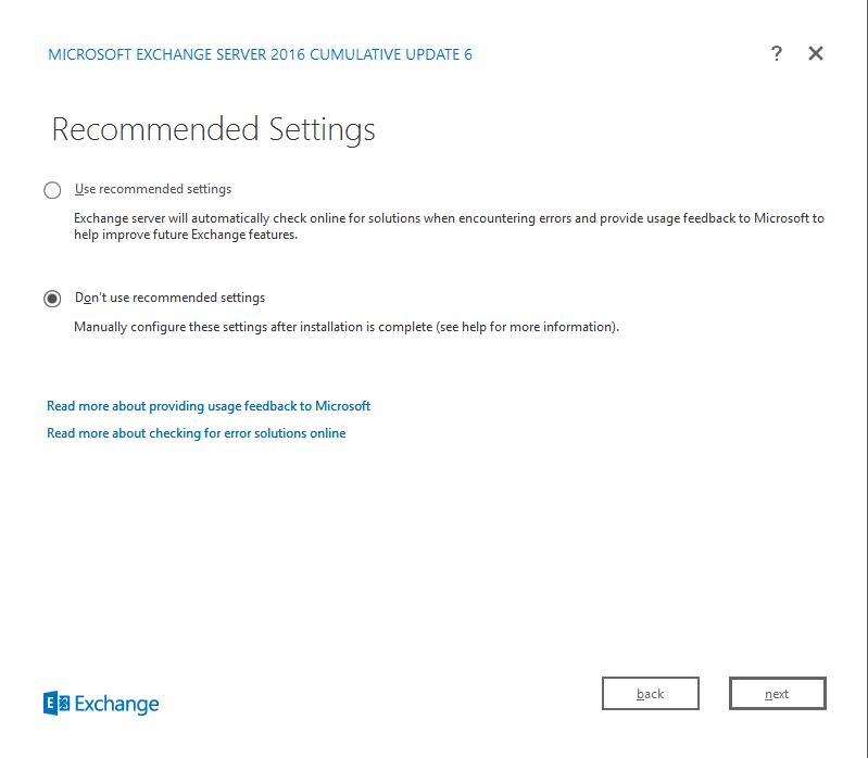 Exchange Server 2016 Cumulative Update 6 recommended settings