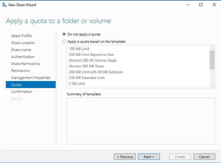 New Share Wizard Apply a quota to a folder or volume