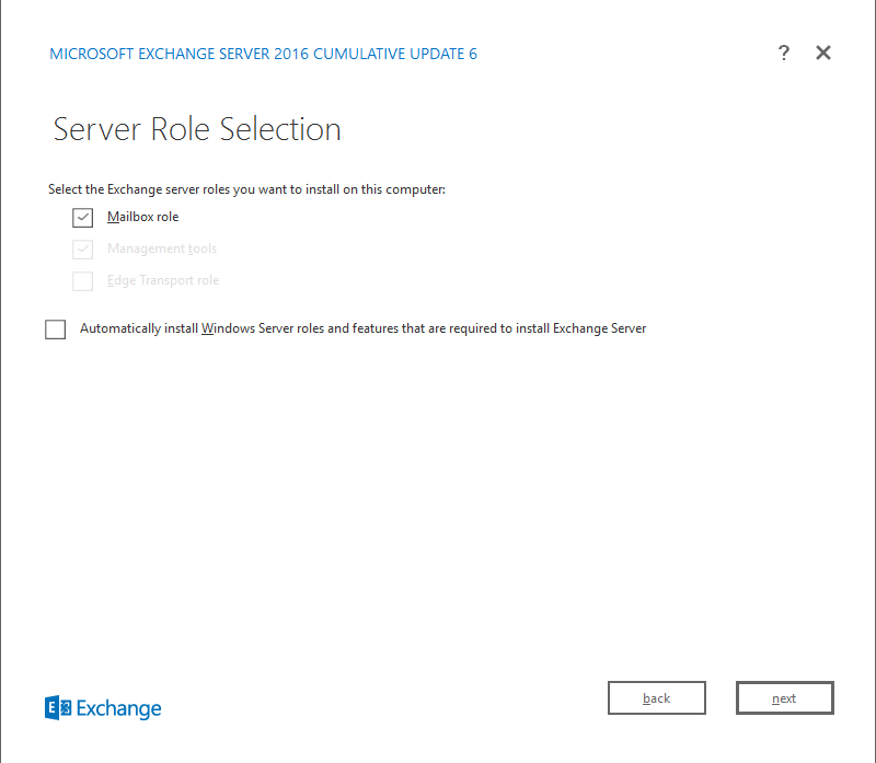 Exchange Server 2016 Cumulative Update 6 Server role selection