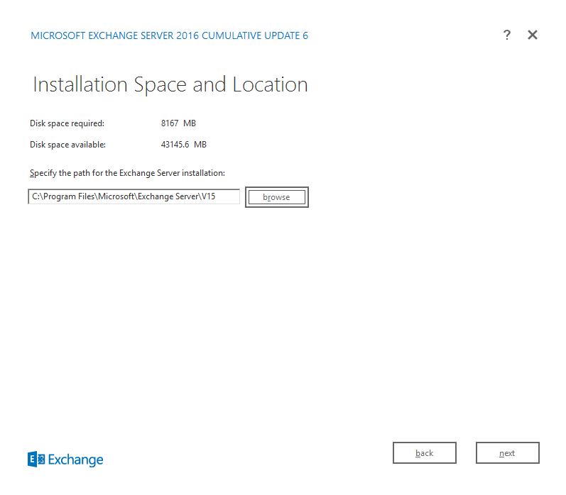Exchange Server 2016 Cumulative Update 6 installation space and location