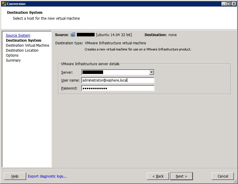 VMware vCenter Converter Standalone destination system