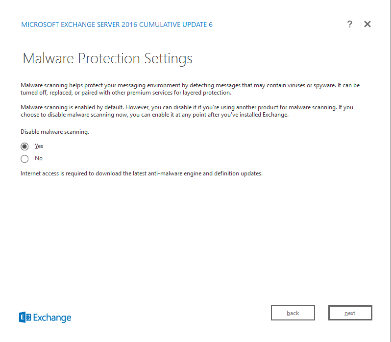 Exchange Server 2016 Cumulative Update 6 malware protection settings