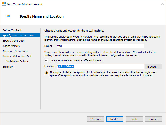 New Virtual Machine Wizard Specify Name and Location