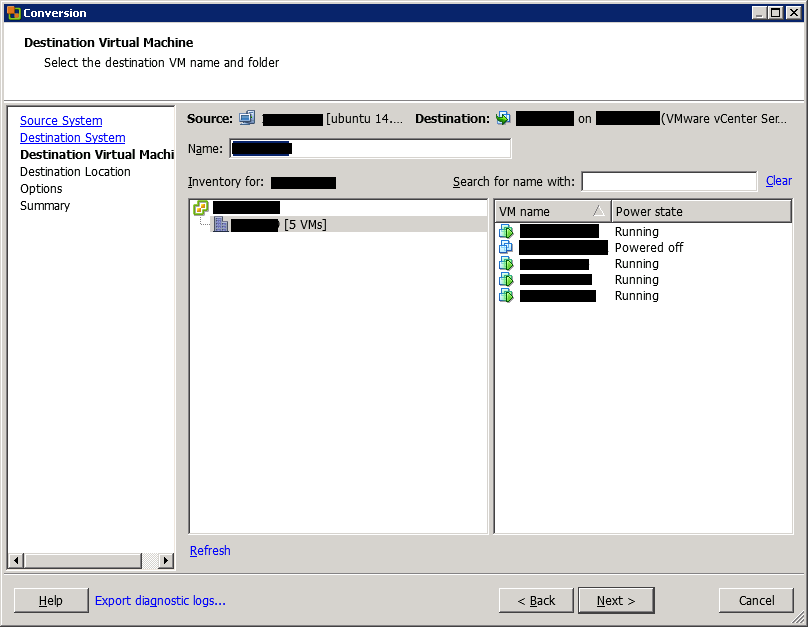 VMware vCenter Converter Standalone conversion destination virtual machine