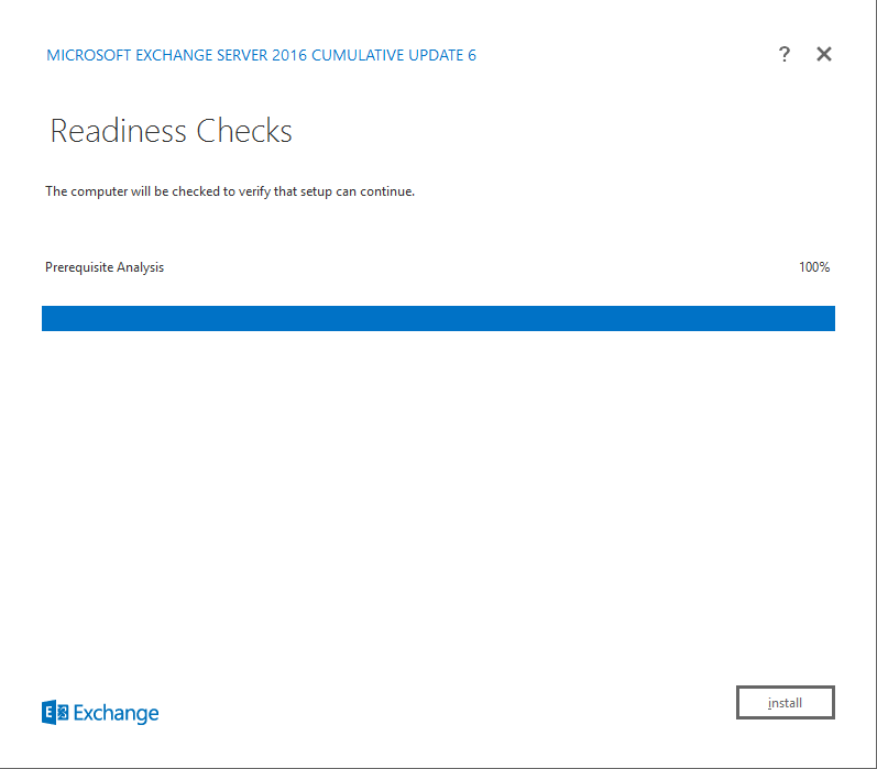 Exchange Server 2016 Cumulative Update 6 rediness checks