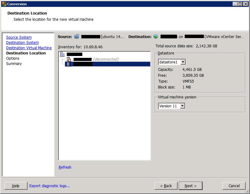 VMware vCenter Converter Standalone conversion destination location