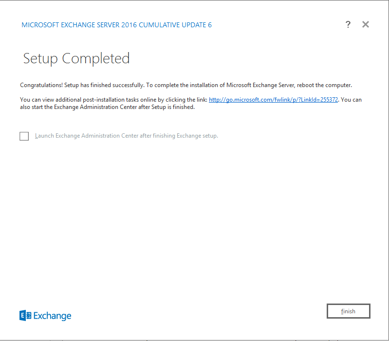 Exchange Server 2016 Cumulative Update 6 setup completed window