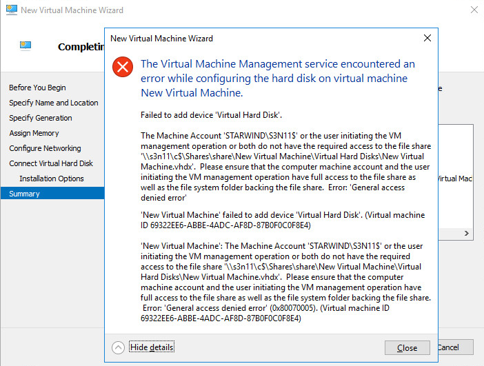 New Virtual Machine Wizard failed to add device virtual Hard Disk