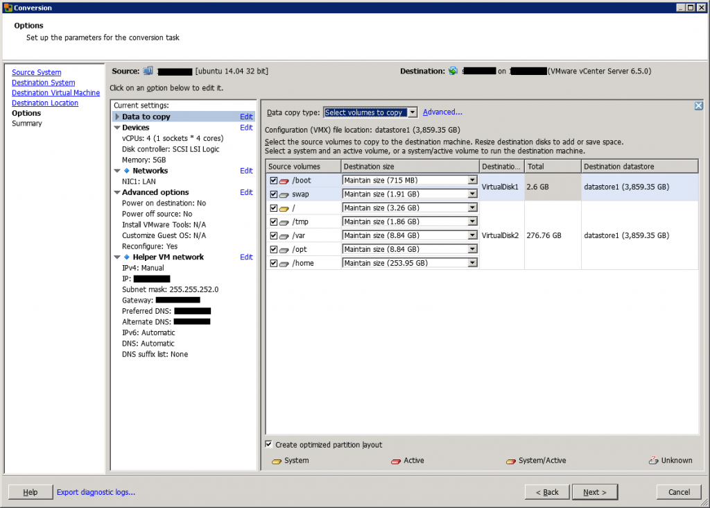 VMware vCenter Converter Standalone conversion options