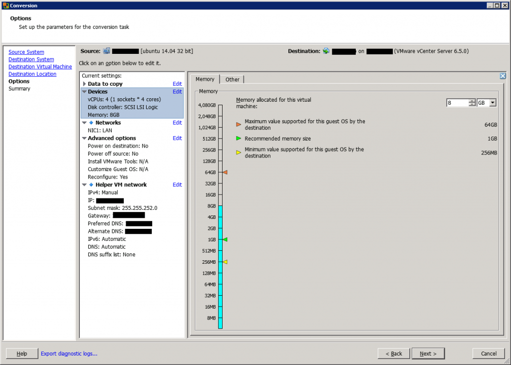 VMware vCenter Converter Standalone conversion options devices