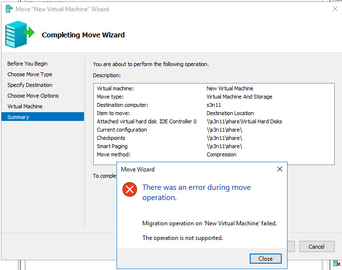 Compliting Move New Virtual Machine Wizard