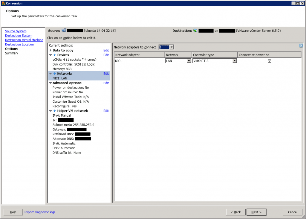 VMware vCenter Converter Standalone conversion options networks
